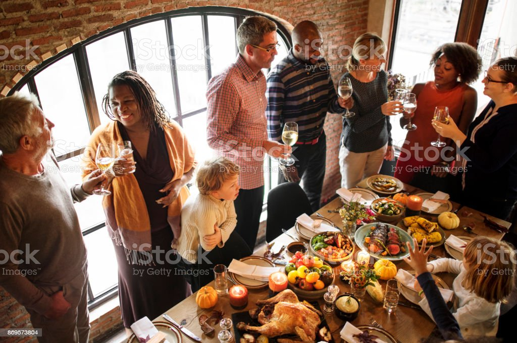 People are celebrating Thanksgiving day stock photo