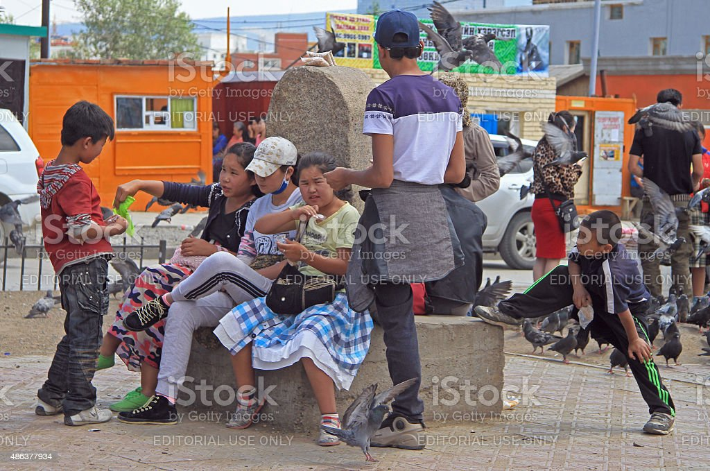 people are communicating on the square in Ulaanbaatar, Mongolia stock photo
