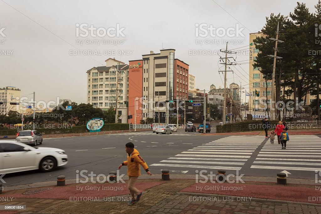 People are crossing the crosswalk royalty-free stock photo
