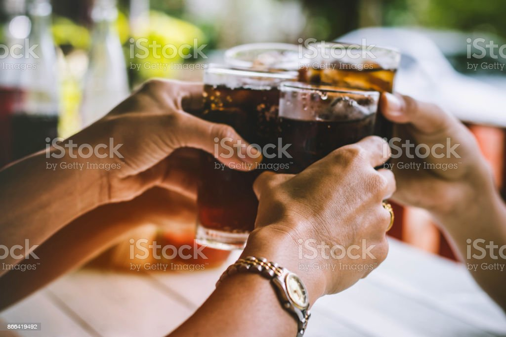 people are drinking on holiday stock photo