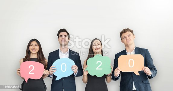 istock People are holding colorful Speech Bubbles. 1166208454