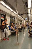 Barcelona, Spain - September 13, 2018: Unknown people are in subway car, Barcelona, Spain