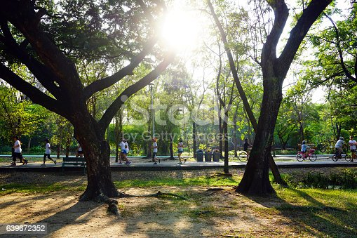 istock People are jogging and cycling in the public park 639672352