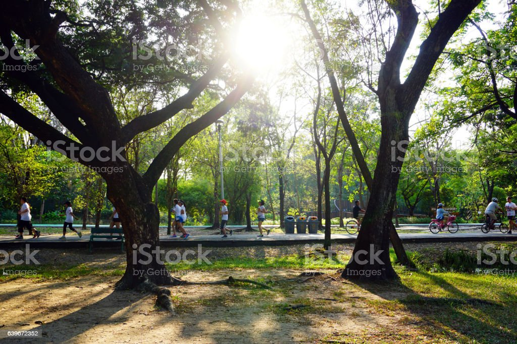People are jogging and cycling in the public park stock photo
