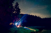 istock People Are Lighting The Sky With A Forehead Lanterns While They Are Sitting Next To The Campfire At The Campsite 1277238349