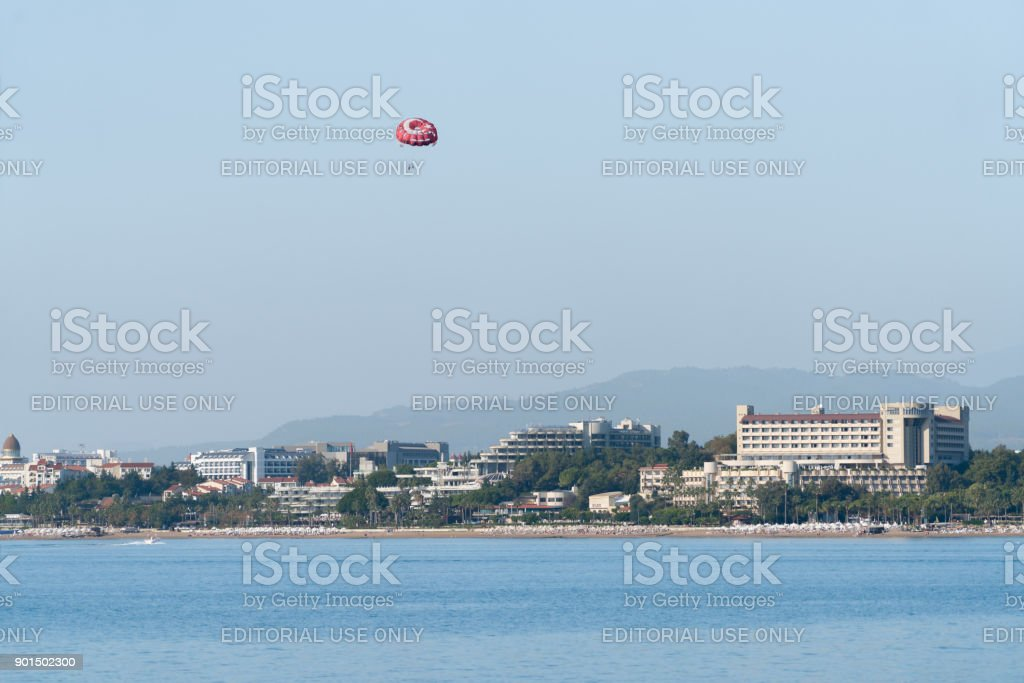 People are Parasailing resort background in Turkey side stock photo