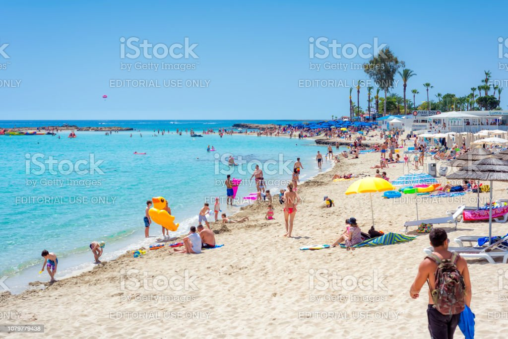 People are resting on the Nissi beach stock photo