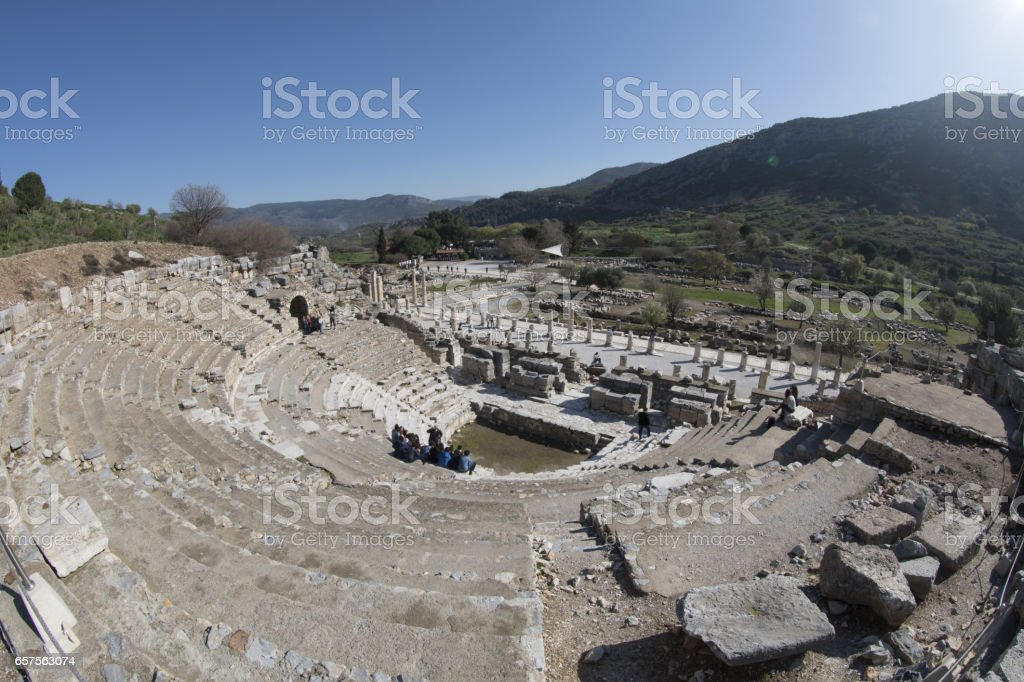 People are visiting ancient city of Ephesus. Ephesus is Turkey's most popular ancient city. stock photo