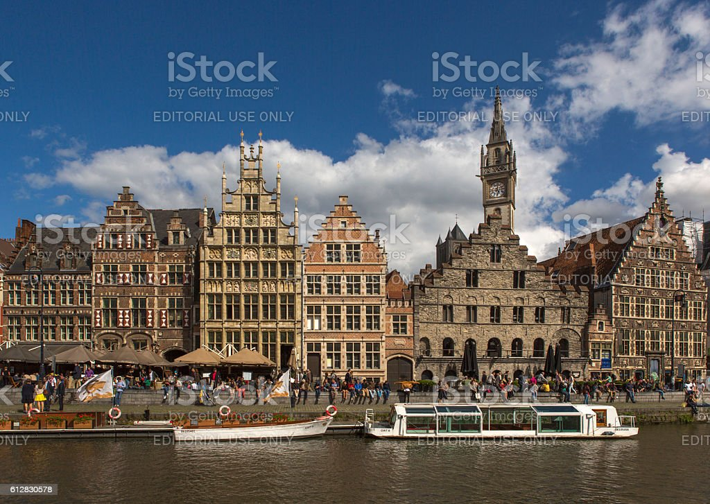 People are visiting downtown by leie river at ghent belgium stock photo