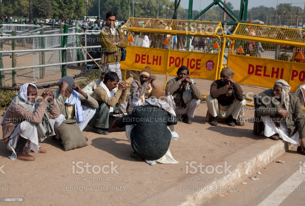 people are waiting for work at new delhi india royalty-free stock photo