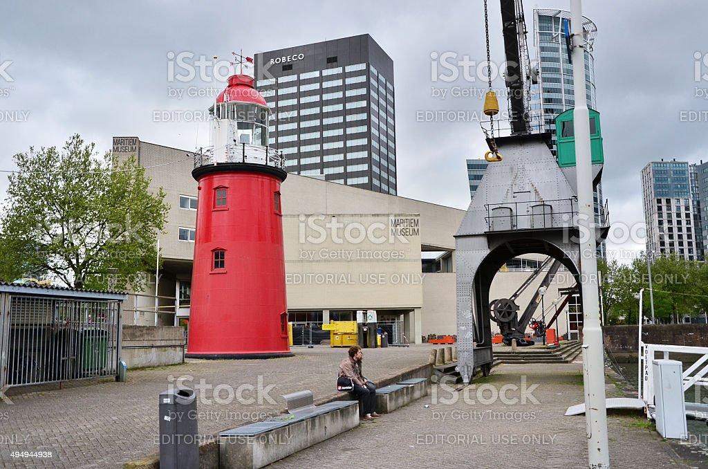 People around maritime museum in Rotterdam stock photo