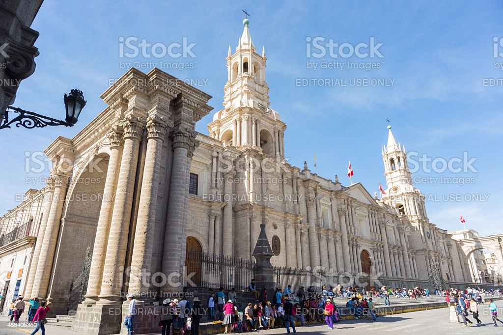 People around the Cathedral in Arequipa, Peru stock photo