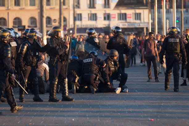 People arrested at the Vieux Port of Marseille stock photo
