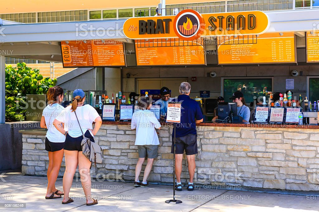 People at a Brat Stand in Madison Wisconsin stock photo