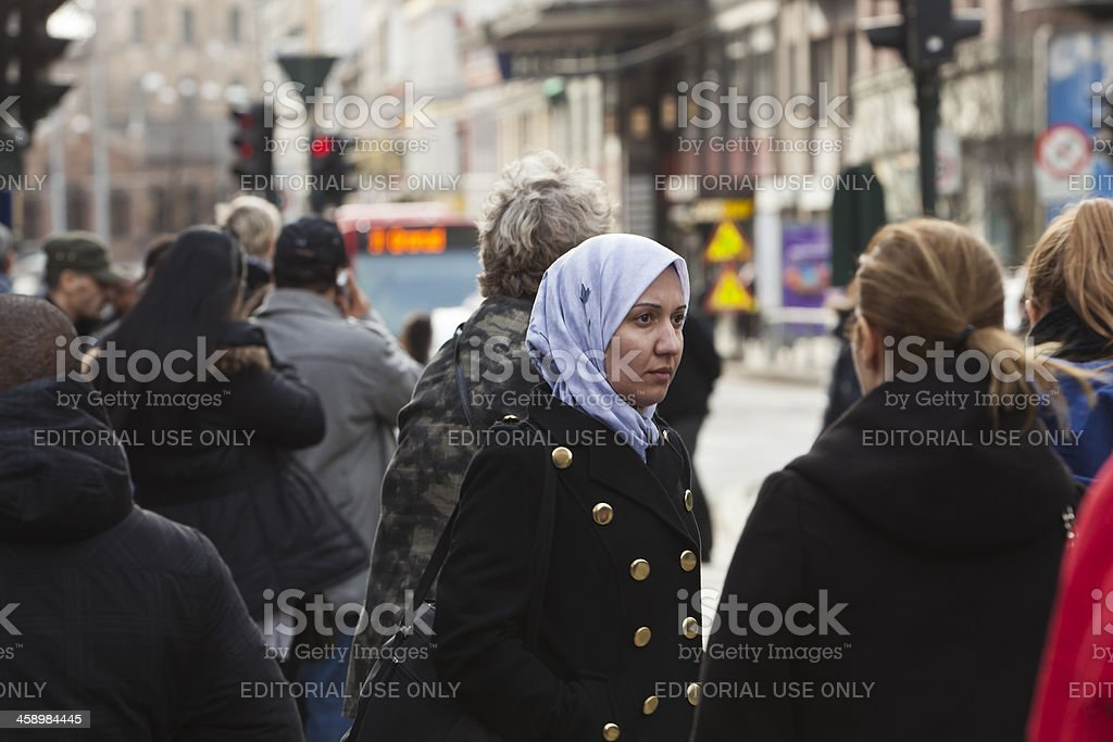 People at a bus stop. royalty-free stock photo