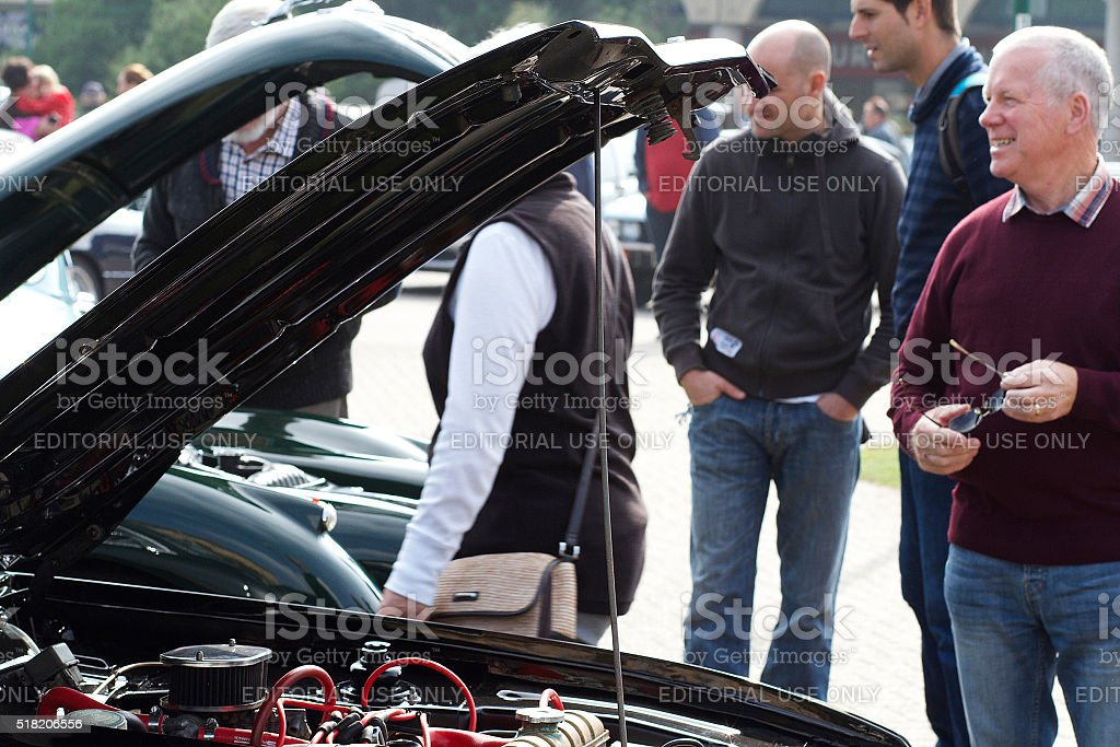 People at a Car Show in Weston-Super-Mare stock photo