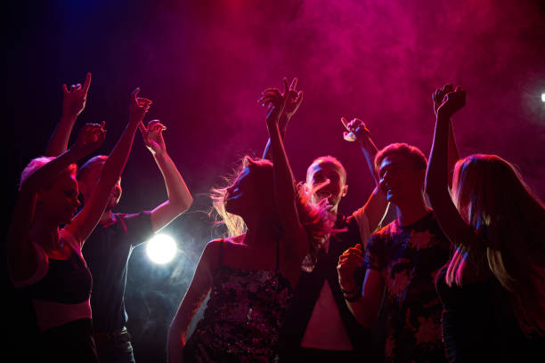 People at a party Group of teenagers having fun at nightclub entertainment club stock pictures, royalty-free photos & images
