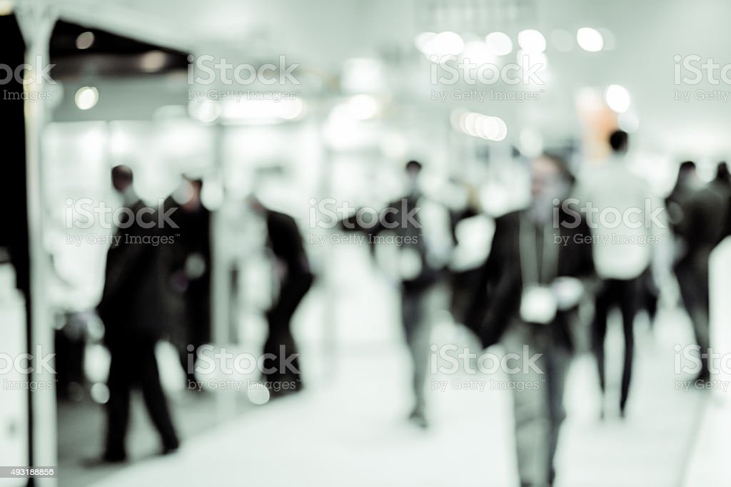 People at a Trade Exhibition stock photo
