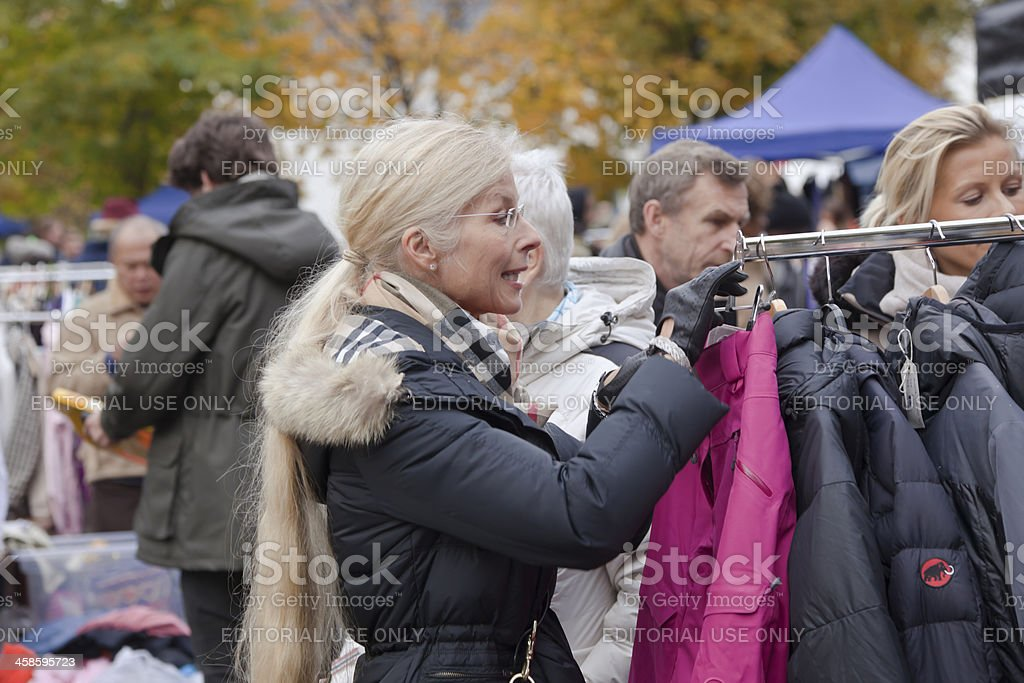 People at an outdoor market. stock photo