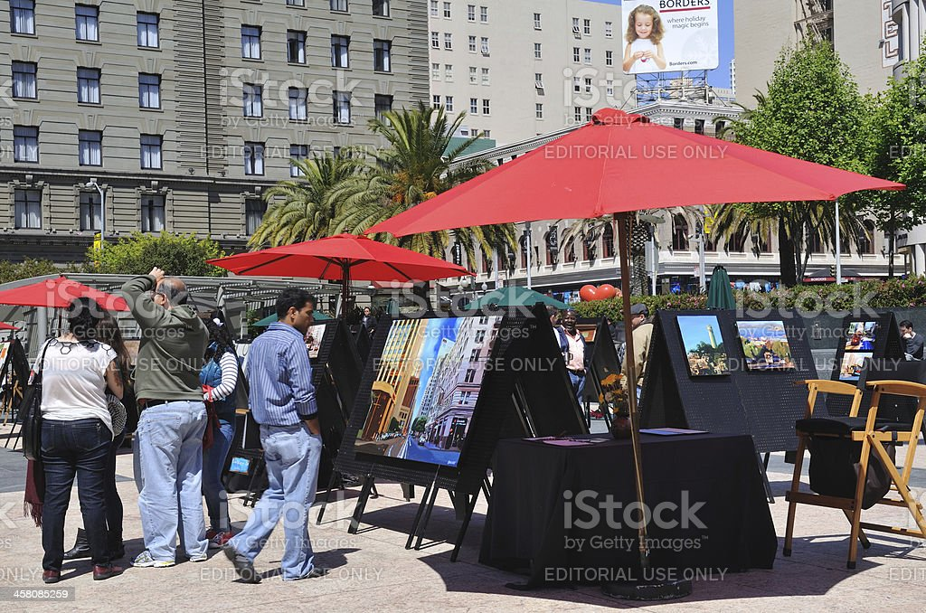 People at Art Show in San Francisco stock photo