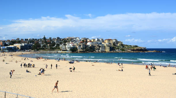 People at Bondi beach, Sydney, New South Wales stock photo