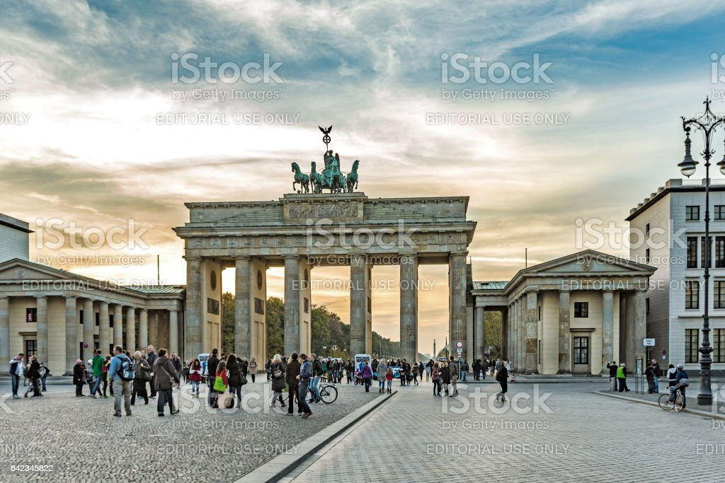 people at Brandenburg Gate (Brandenburger Tor) in Berlin stock photo