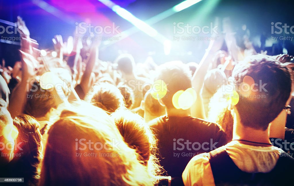 People at concert party. stock photo
