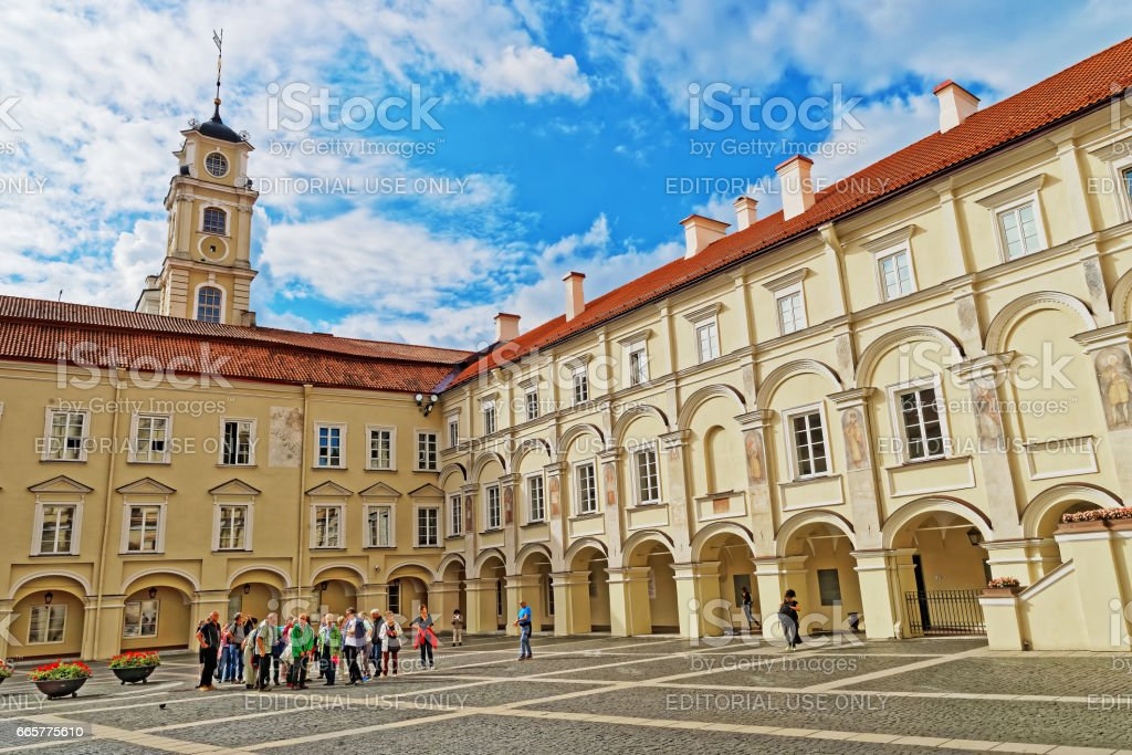 People at Courtyard and Observatory tower of Vilnius University stock photo