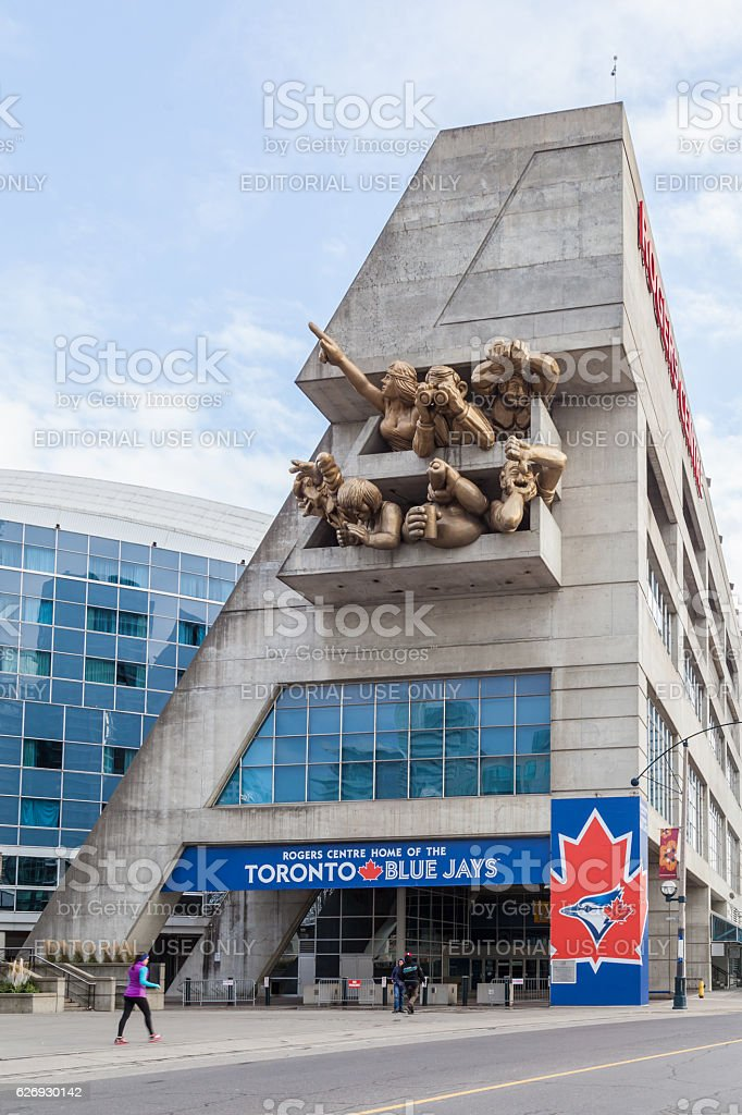People at entrance of Rogers center in Toronto stock photo
