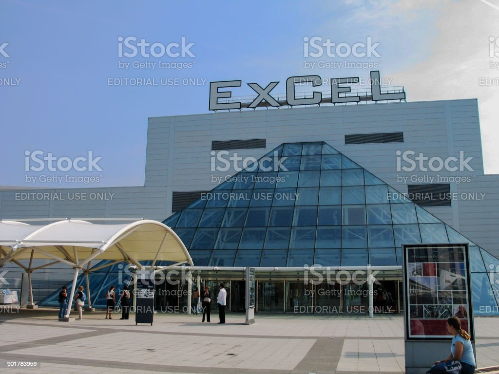 People at entrance to international exhibitions and convention centre ExCeL at Dockland  area in London, UK stock photo