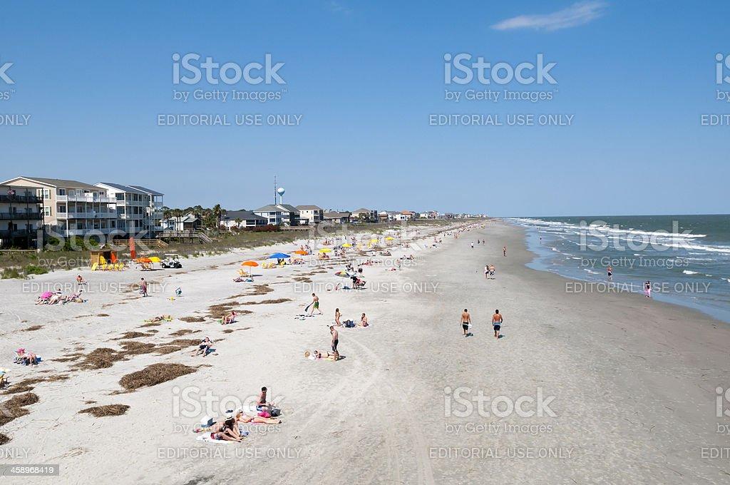 People at Folly Beach South Carolina stock photo