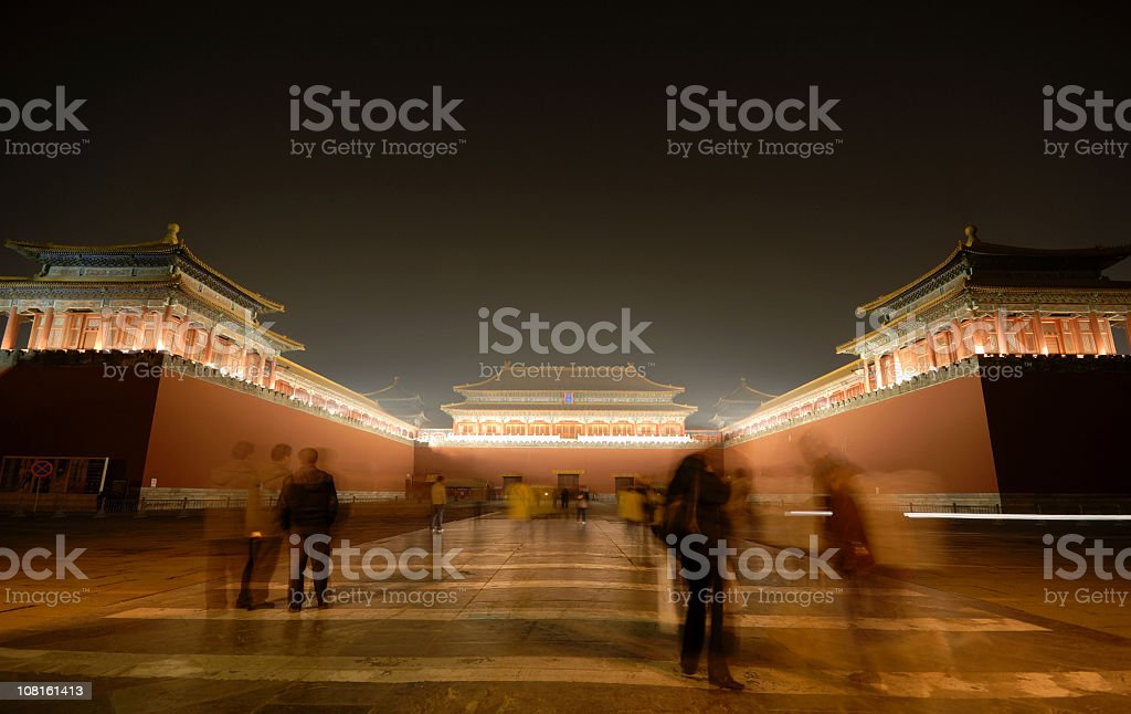 People at Forbidden City royalty-free stock photo