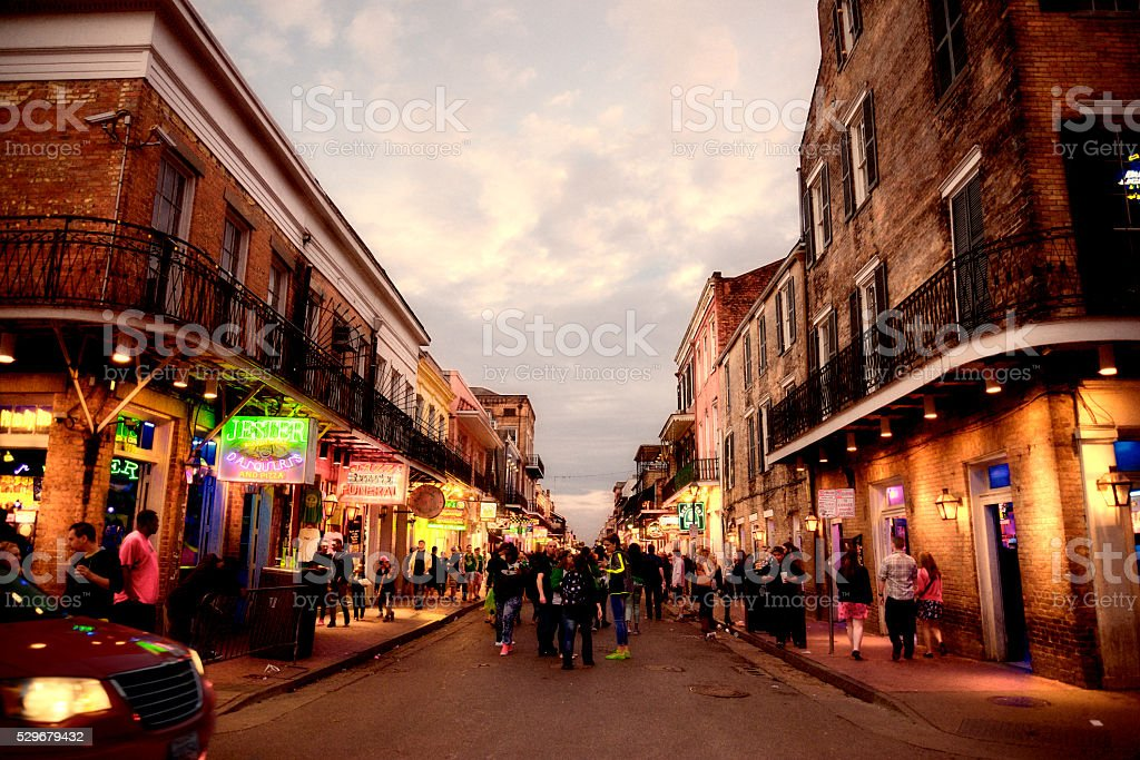 People at French Quarter, Mardi Gras, New Orleans stock photo