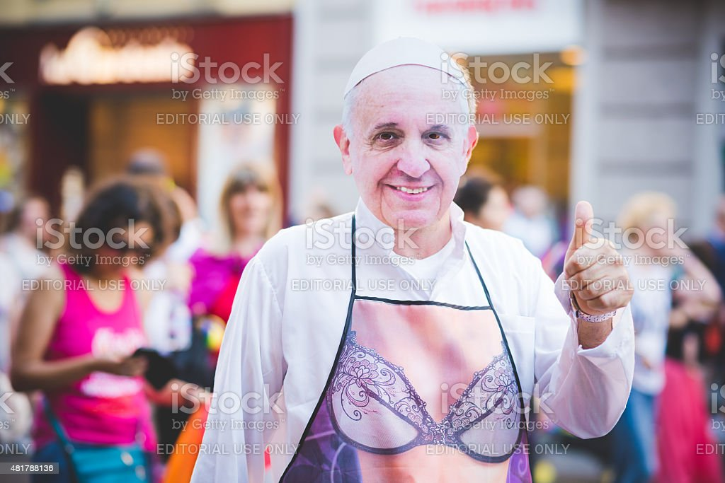 People at gay pride parade in Milan JUNE 27, 2015 stock photo