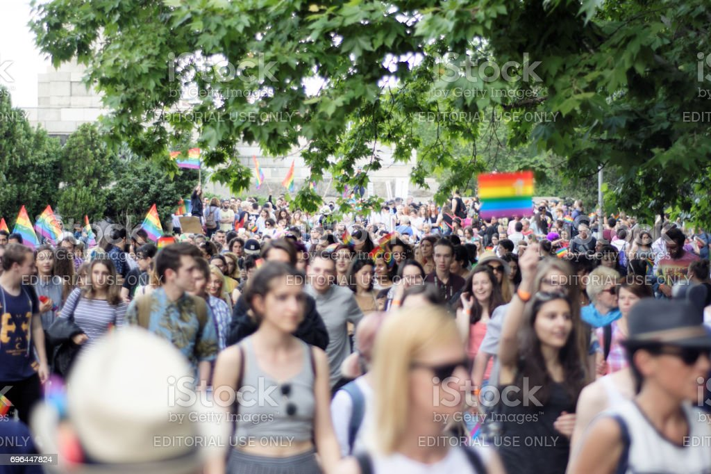 People at gay pride parade in Sofia JUNE 10, 2017 stock photo