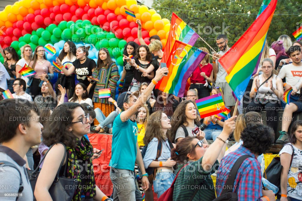 People at gay pride parade in Sofia stock photo