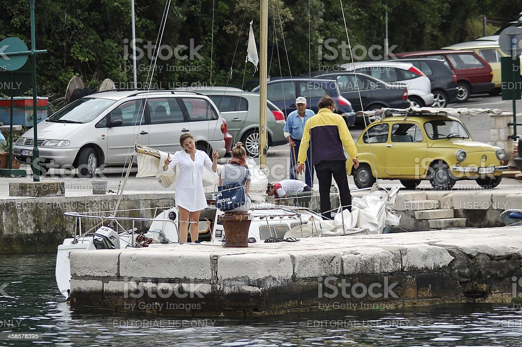 People at harbor royalty-free stock photo