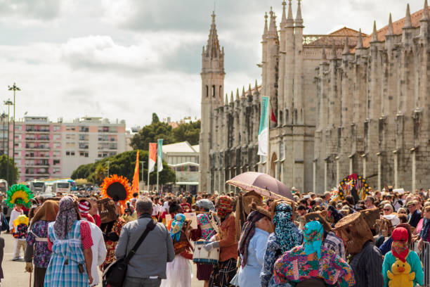 people at iberian mask festival parade in lisbon - demoniac stock pictures, royalty-free photos & images
