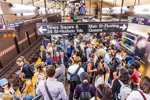 New York: people at metro station Grand Central wait for train to times square and Queens. The Metro in New York is used by more than 100 Tsd people daily.