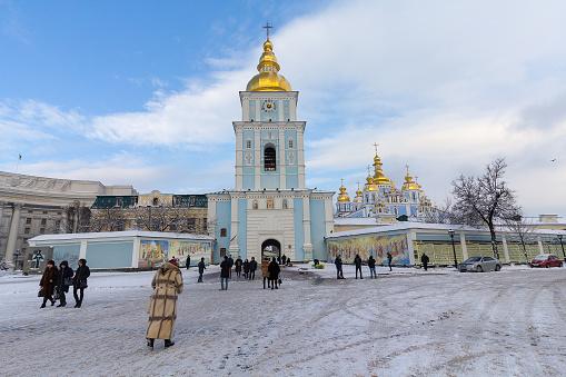 Kiev, Ukraine - January 18, 2018: People at Mykhailivs'ka Square covered snow