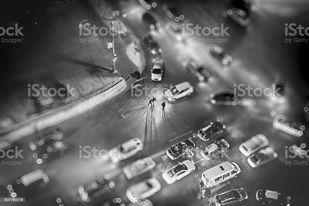 People at Night from Arerial View stock photo