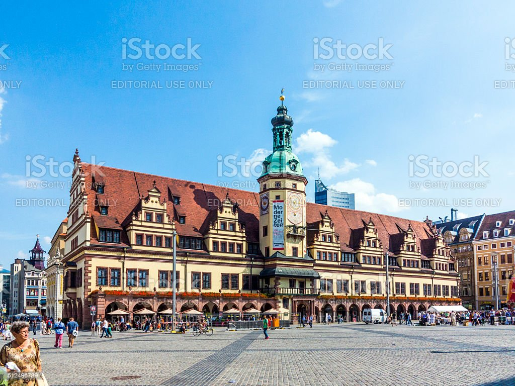 people at  old Town Hall in Leipzig stock photo