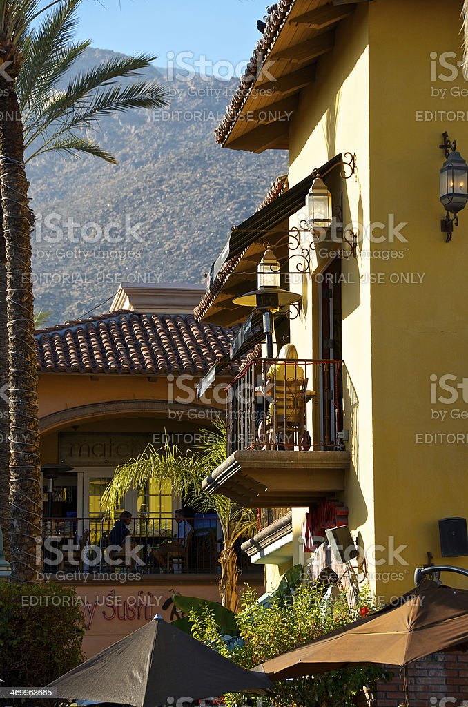 People at outdoors restaurants, Palm Springs California, USA royalty-free stock photo
