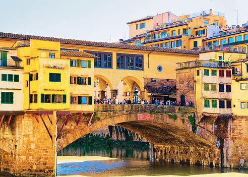 People at Ponte Vecchio bridge in Florence