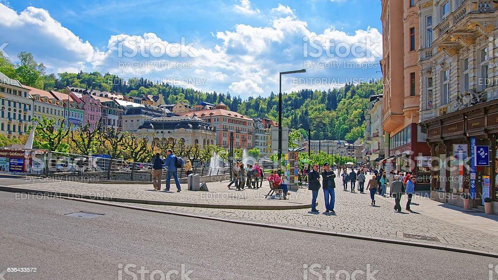 People at Promenade in Karlovy Vary stock photo