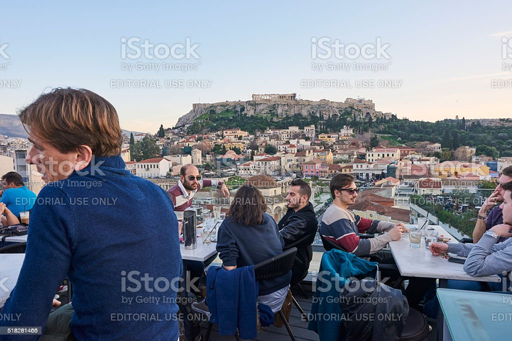 People at Rooftop Bar in Athens stock photo