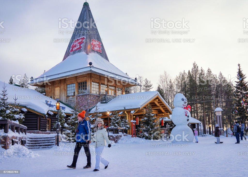 People at Santa Claus Office in Santa Claus Village Lapland stock photo