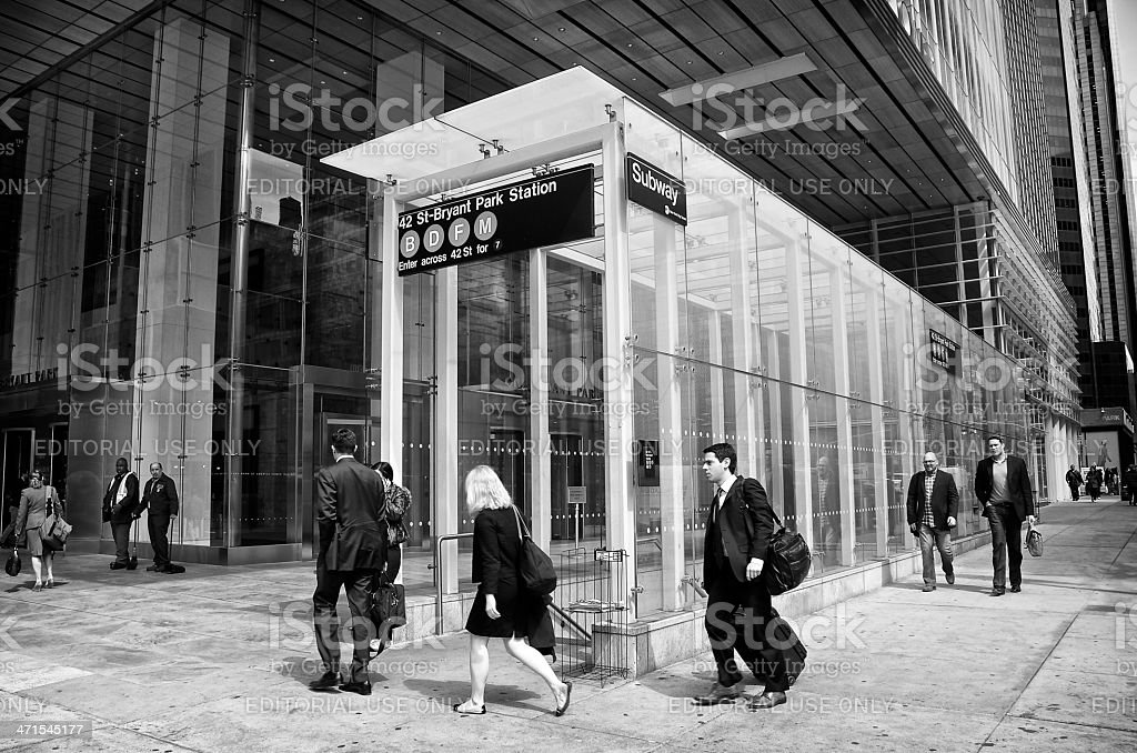 People at Subway entrance, 42nd Street, Midtown, Manhattan, NYC stock photo