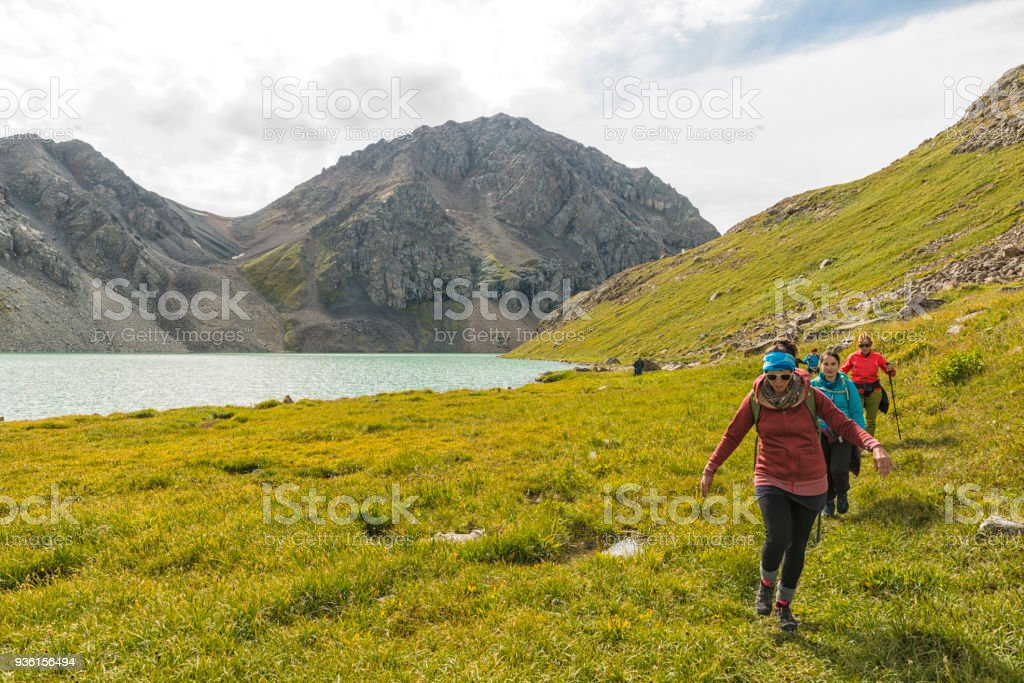 People at the Alakol lake in Kyrgyzstan stock photo