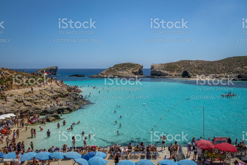 People At The Blue Lagoon In Comino Island Gozo Malta Stock Photo Download Image Now